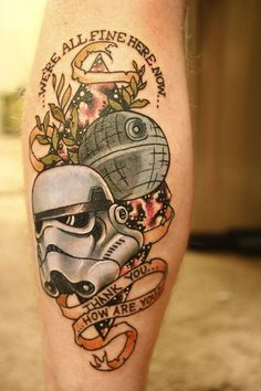 Traditional Star Wars tattoo by Electric Alivia at Artful Dodger; Seattle, WA.