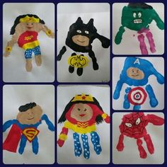 Superhero handprint kids planning to do this cute super hero art project with my baby nephews next time they visit. superhero hand art canvas family paint