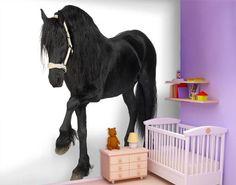 € 89,00 nu € 59 00 Aantal Fotobehang Fries paard De finishing touch voor een tiener kamer Afmeting: 300cm x 280cm(bxh). Dit behang word in 6 delen van 100cm x 140cm geleverd.