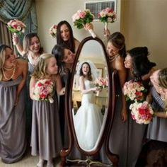 Bride's reflection in the mirror is great!