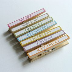 "Day of the Week Magnetic Clips - See Jane Work // I need these right now to organise my ""to do"" lists!! Buy or DIY??"