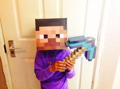 Free Minecraft Steve head, printable template mask