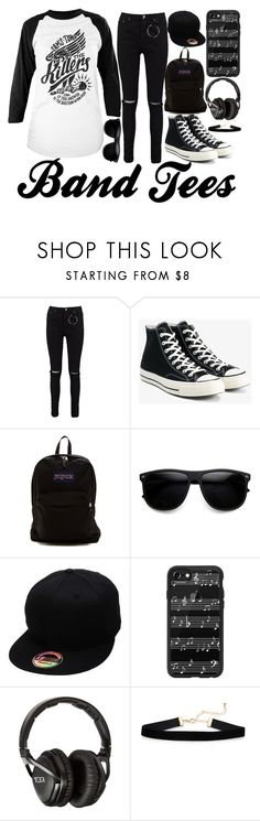 Nobody Ever Had A Dream Round Here. by saleonsea on Polyvore featuring Boohoo, Converse, JanSport, Casetify, Tumi, ZeroUV, music, thekillers, bandtee and bandtees