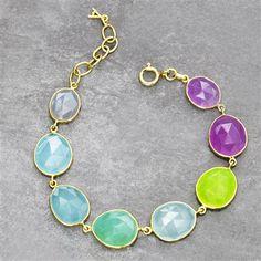 Avery Row 22ct Gold Vermeil Multi-Stone Bracelet Ft. Green & Violet Quartz