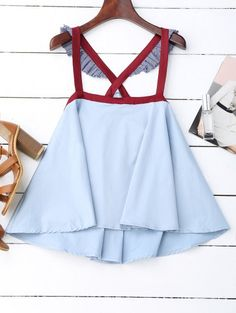 SHARE & Get it FREE | Crossover Skirted Houndstooth Tank Top - Light Blue SFor Fashion Lovers only:80,000+ Items • New Arrivals Daily Join Zaful: Get YOUR $50 NOW!