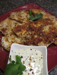 Paleo coconut crusted fish with cilantro lime dip
