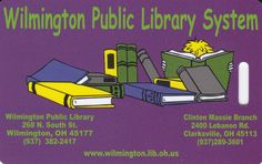 Wilmington Public Library of Clinton County Child Card, Wilmington OH USA