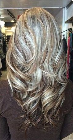 long blonde hair with red lowlights | Loosely curled layers with ...