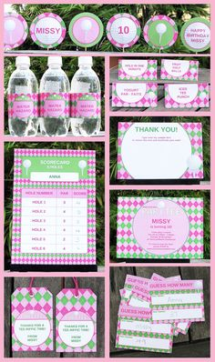 Girl Golf Party Invitation  Printable Party Collection, EDITABLE text PDF file - you personalize at home with Adobe Reader