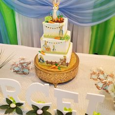Peter Rabbit baby shower cake #carinaedolce www.carinaedolce www.facebook.com/carinaedolce Rabbit Baby, Peter Rabbit, Baby Shower Cakes, Birthday Cake, Table Decorations, Facebook, Desserts, Food, Home Decor