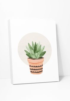 Original watercolor illustration of a small succulent plant. Makes a stylish housewarming gift since plants are traditionally the most popular housewarming gifts. One in a series of Cute Cacti. Also A