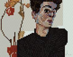 Selbstporträt mit Lampionfrüchten(egon schiele) - pixel art -