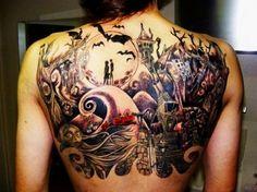 Best of 2013 - Mind Blowing Back Piece Tattoos - Tim Burton Jack skellington http://www.rebelsmarket.com/products/jack-de-los-muerto-tank-28287