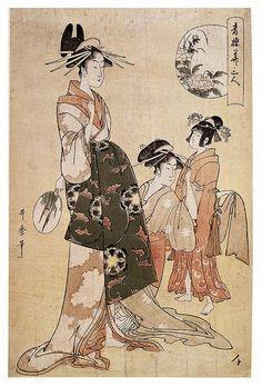 023-Una cortesana con sus aprendizas-Kitagawa Utamaro- © The Trustees of the British Museum