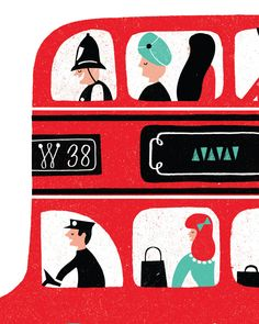 London Bus Print By Debbie Powell | Lagom Design