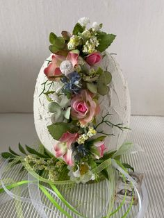 """Diameter cm height 20 cm """"broken"""" egg treated with structural paste, stands on a glass coaster decorated with all kinds of silk flowers and leaves, ribbons and small pendant Egg Crafts, Easter Crafts, Broken Egg, Vase With Lights, Egg Art, Glass Coasters, Vintage Easter, Art Floral, Silk Flowers"""