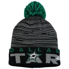 Dallas Stars adidas Youth Team Logo Cuffed Knit Hat with Pom - Kelly Green