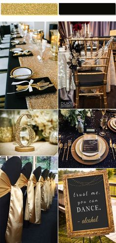Luxurious Black And Gold Wedding Ideas Inspired from 2017 Golden Globe Red Carpet