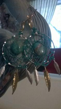 Kingman Turquoise Cabochon Dream Catcher Earrings/ Handmade by the Dreamcatcherman by DreamCatcherMan on Etsy