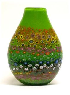 """Apple Green Garden Vase""  Art Glass Vase  Created by Ingrid Hanson and Ken Hanson"