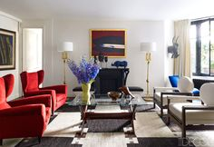 Modern living room with purple flowers, red and blue furniture and black and white rug