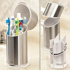 Covered toothbrush holder. Need this in our house with three men shaving over the sink and over the open toothbrush holder.