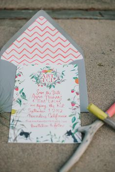 colorful invites + envelope liner // photo by Delbarr Moradi // http://ruffledblog.com/romantic-pescadero-wedding