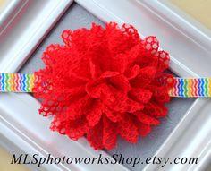 Super Cute Baby Headbands ... Red Rainbow Flower Headband by MLSPhotoWorksShop on Etsy, $3.00