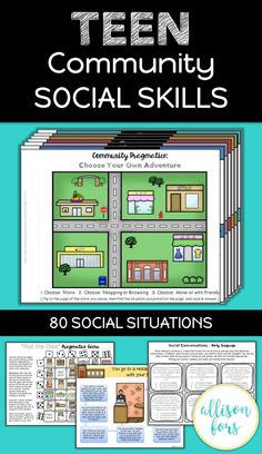 Work on many aspects of social skills for teens in middle school or high school. Perfect for speech therapy, life skills, sped, or autism classrooms! The interactive activities will give your students control of the situations and questions presented.