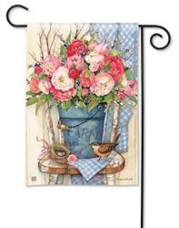 Bucket Full of Peonies Garden Flag - x - BreezeArt Spring Art, Spring Home, Spring Garden, Shabby Chic Logo, Shabby Chic Chairs, Garden Flag Stand, Yard Flags, Outdoor Flags, Outdoor Fabric