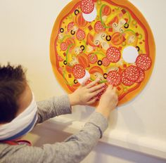 Cooking theme party game - Pin the Pepperoni on the Pizza: Custom design available for order from www.papercandy.com.au