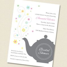 Bridal Shower Tea Party Invitation Printable by paperspice on Etsy, $16.00