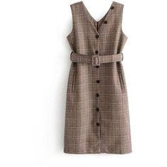 Plaid Vest Dress With Belt ❤ liked on Polyvore featuring dresses, dresses with belts, tartan dress, belt dress, belted dress and plaid dress