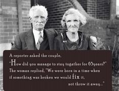 I was just  thinking this about old married couples yesterday.