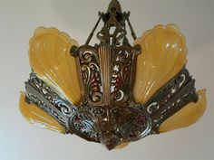 eBay lsting: Antique Art Deco slip shade chandelier Riddle original shades & fixture