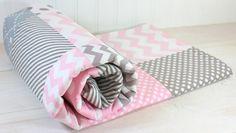 Baby Girl Blanket, Nursery Decor, Crib Blanket, Photography Prop, Patchwork Baby Blanket,  Fleece Blanket, Pink and Gray Chevron Dots Stripe