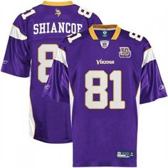 2ded8fc41 Vikings  81 Visanthe Shiancoe Purple With Team 50TH Patch Stitched NFL  Jersey