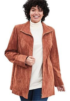 Product review for Woman Within Women's Plus Size Funnel Neck Zip-Front Suede Jacket.  - Warm up in our plus size genuine suede jacket in rich colors that complete your outfit. The funnel neck is the silhouette of the season. Our suede is the softest available in rich fall colors. A-line silhouette is fashionable, with topstitched yoke, vertical seaming and back pleat for fit...