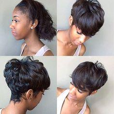 Black Hairstyles Ideas 2019 Short Black Hairstyles Short and Cuts Hairstyles Black Haircut Styles, Short Black Haircuts, Short Hair Cuts, Haircut Short, Short Pixie, My Hairstyle, Pretty Hairstyles, Hairstyle Ideas, Sassy Hair