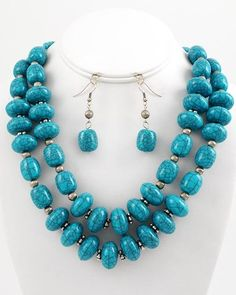 "New Fashion Antique Silver Tone Double Strand Chunky Turuoise Acrylic  & Glass Beads Necklace & Earring Set  NOT FOR CHILDREN UNDER 12  With No Tags  Size: Approximately 17"" Long necklace with ext.            Earrings Hooks 2"" Long                    Condition: New Never Worn  Free D..."