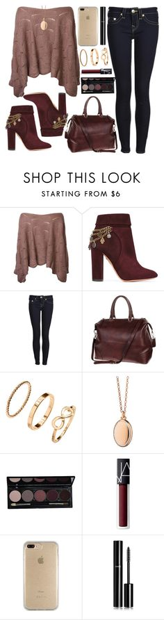 """""""Untitled #4277"""" by natalyasidunova ❤ liked on Polyvore featuring Aquazzura, True Religion, H&M, Monica Rich Kosann, NARS Cosmetics, Speck and Chanel"""