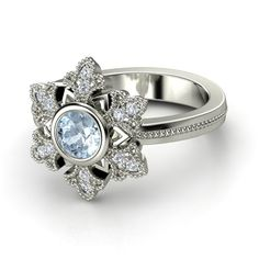 Round Aquamarine 14K White Gold Ring with Diamond | Snowflake Ring | Gemvara