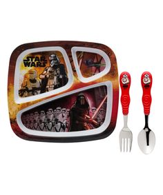 Look at this The Force Awakens Three-Piece Sectioned Plate & Flatware Set on #zulily today!