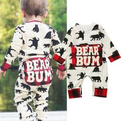 """Bear Bum"" Baby Boy Long Sleeve Sleeper Jumpsuit Baby Boy, Baby Kids, Playsuit, Outfit Sets, Graphic Sweatshirt, Girl Outfits, Jumpsuit, Rompers, Boys"