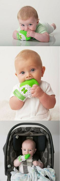The best baby teething toy! The Munch Mitt is a great way to keep teething toys from falling onto the ground! Provides a ton of relief for baby teething pains with soothing silicon bumps! I bought my baby one of these she likes it