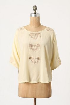 Webbed Panes Blouse by Vanessa Virginia 2012 - Laced windows create an ethereal column down Vanessa Virginia's romantic cotton top.