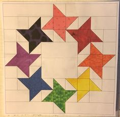 "Confessions of a Fabric Addict: Stunning Stars - ""Ring Around The Roses""! Star Quilt Blocks, Star Quilts, Scrappy Quilts, Mini Quilts, Half Square Triangle Quilts, Square Quilt, Quilting Projects, Quilting Designs, Barn Quilt Patterns"