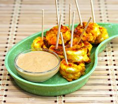 Recipe for roasted shrimp appetizer with spicy peanut sauce - The Perfect Pantry®