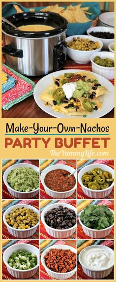 A Make-Your-Own-Nachos Party Buffet A Make-Your-Own-Nachos Party Buffet Nacho Bar Buffet<br> An easy menu for parties like Game Day and Cinco de Mayo--always a crowd pleaser. Queso, chips and a variety of toppings are all you need. Appetizers For A Crowd, Food For A Crowd, Appetizer Recipes, Meat Appetizers, Party Appetizers, Party Food Bars, Snacks Für Party, Food For Party Buffet, Food For Parties