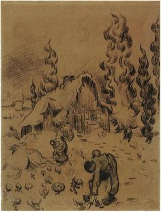Vincent van Gogh Drawing, Pencil Saint-Rémy: March - April, 1890 Van Gogh Museum Amsterdam, The Netherlands, Europe F: JH: 1906 Image Only - Van Gogh: Snow-Covered Cottages with Cypresses and Figures Artist Van Gogh, Van Gogh Art, Art Van, Van Gogh Drawings, Van Gogh Paintings, Cool Drawings, Vincent Van Gogh, Desenhos Van Gogh, Charles Gleyre